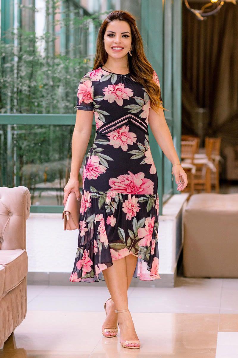 Vestido Midi Floral Assimétrico Luciana Pais