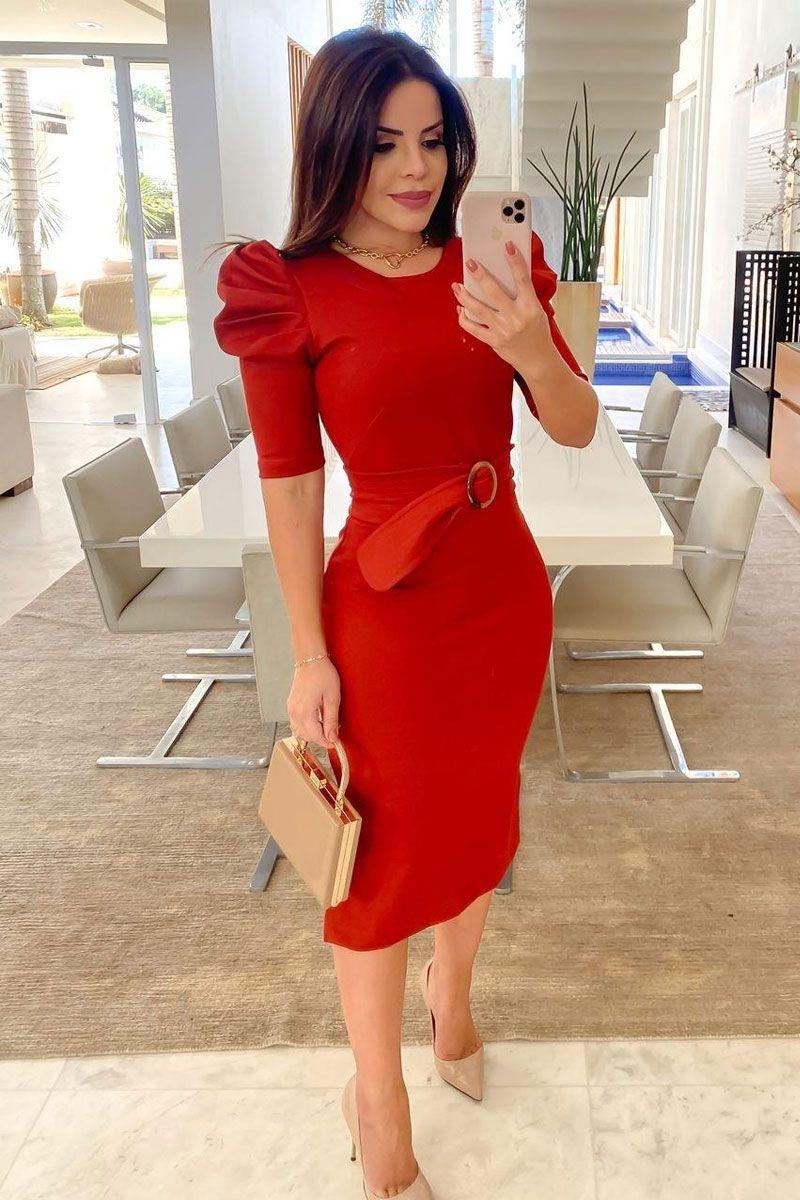 Vestido Midi Manga Bufante Vermelho Cristiane Resende
