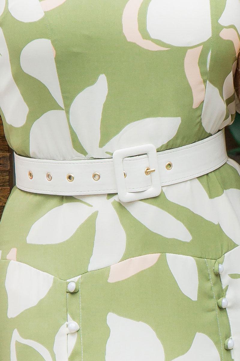 Vestido Midi Plus Size Kauly Estampado com Cinto