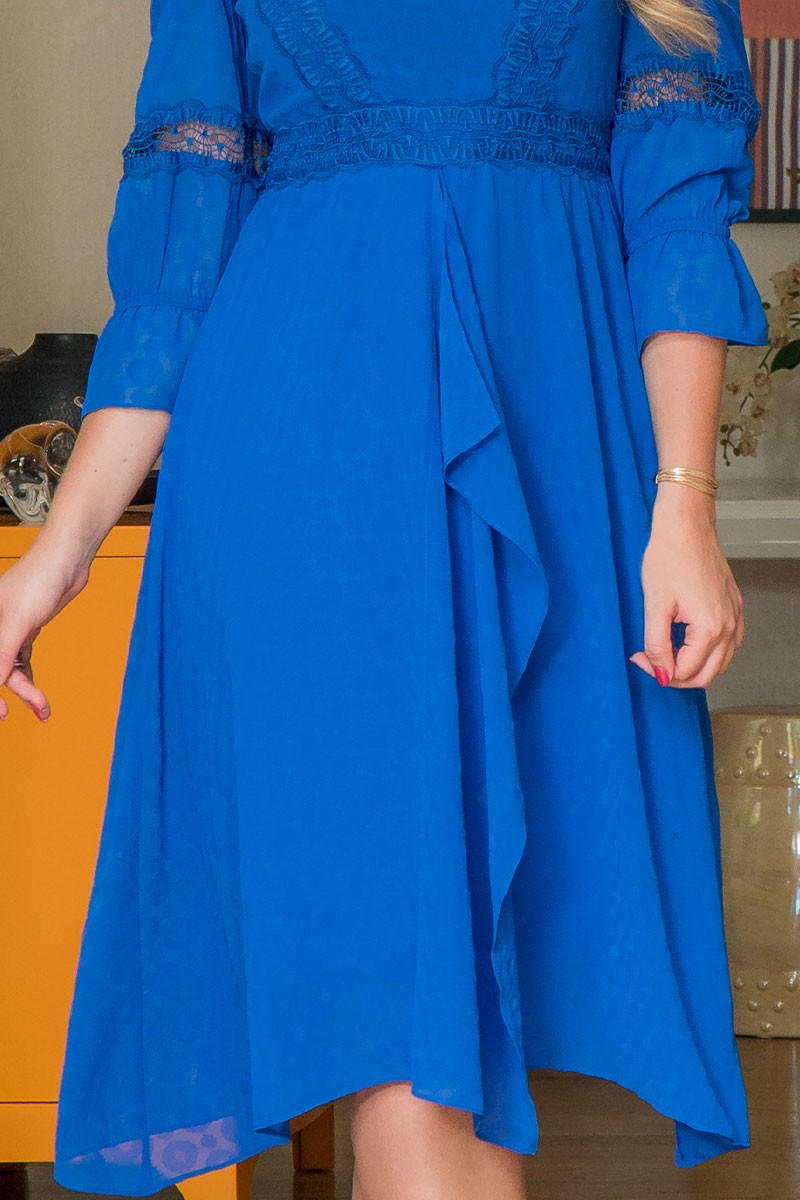 Vestido Midi Plus Size Mullet Kauly Azul Manga 3/4
