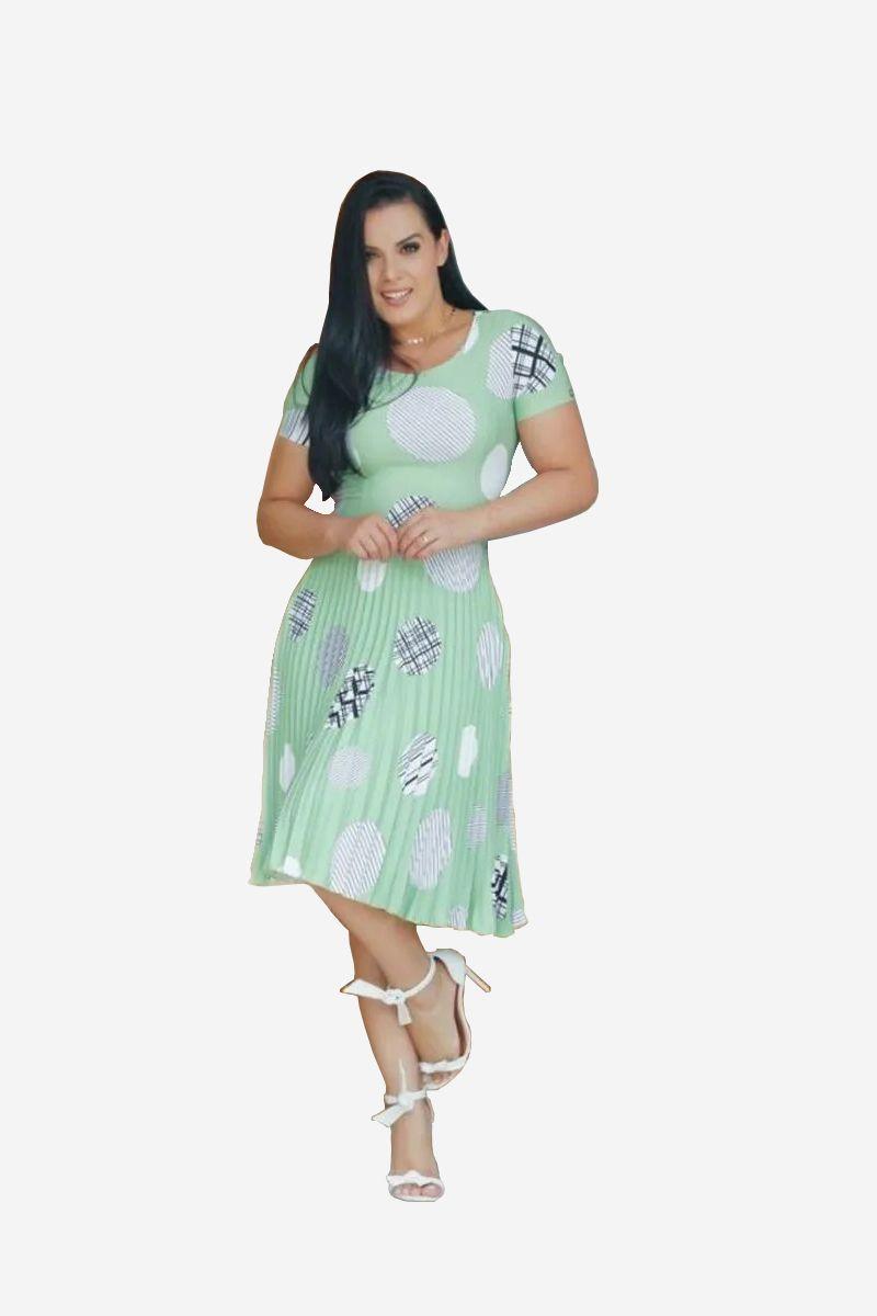 Vestido Evasê Poá Verde Manga Curta NK3
