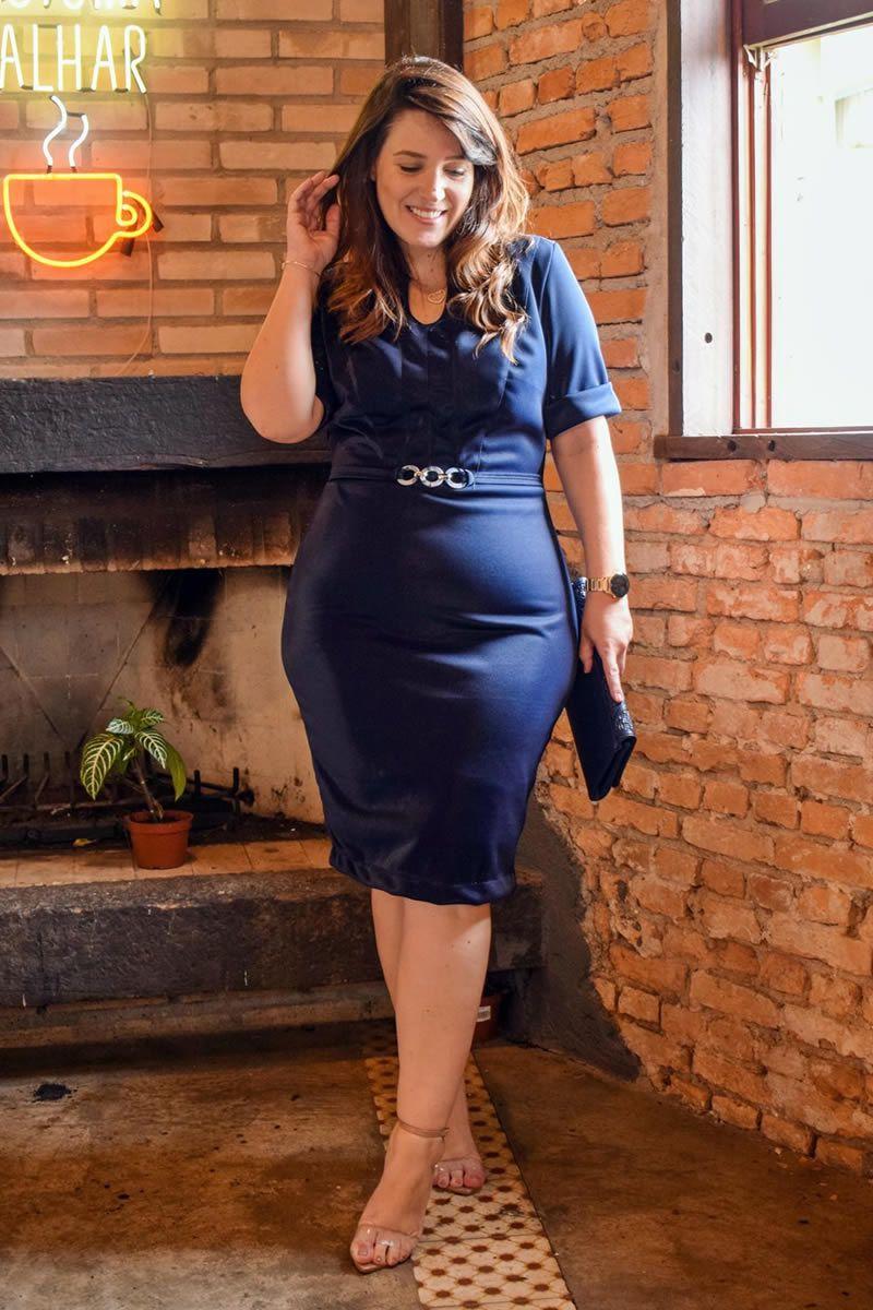 Vestido Plus Size em montaria com brilho