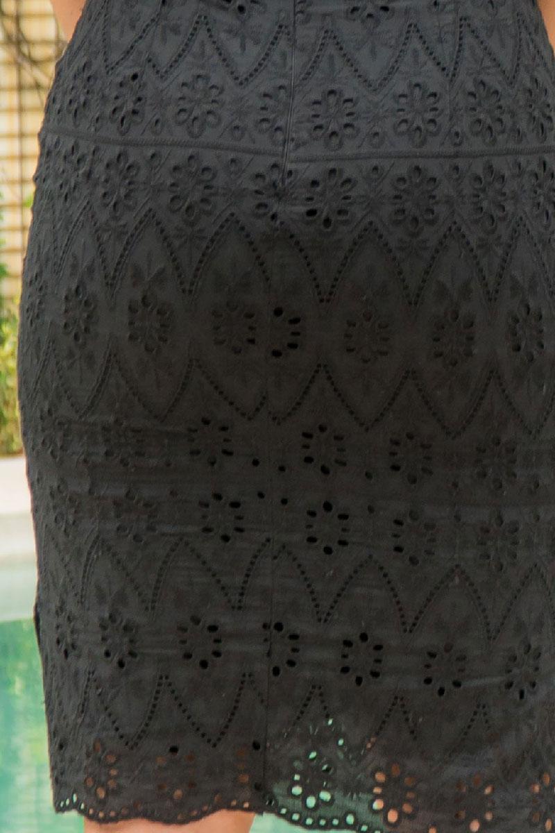 Vestido Tubinho de lasie Luciana Pais Manga Bufante
