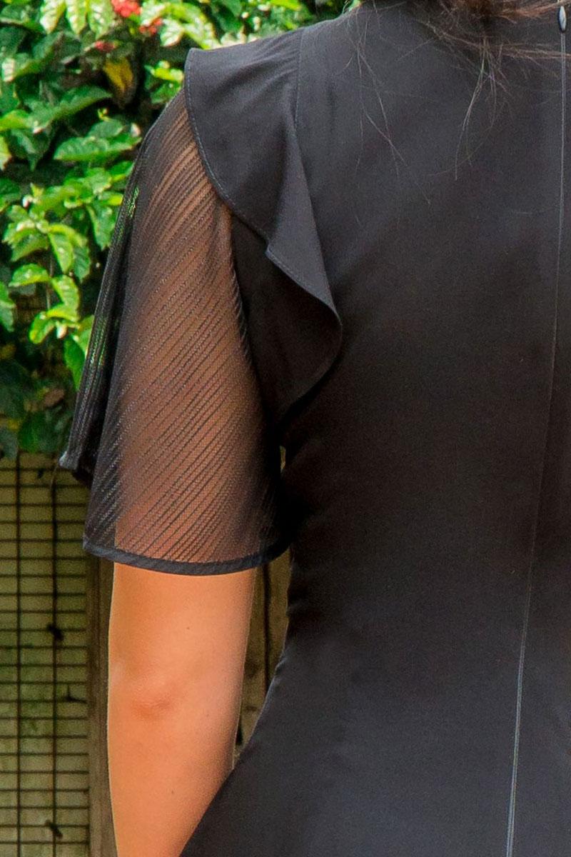 Vestido Tubinho Luciana Pais com Babado e Manga Curta