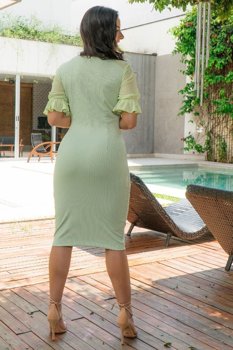 Vestido Tubinho Luciana Pais com Laço Preto