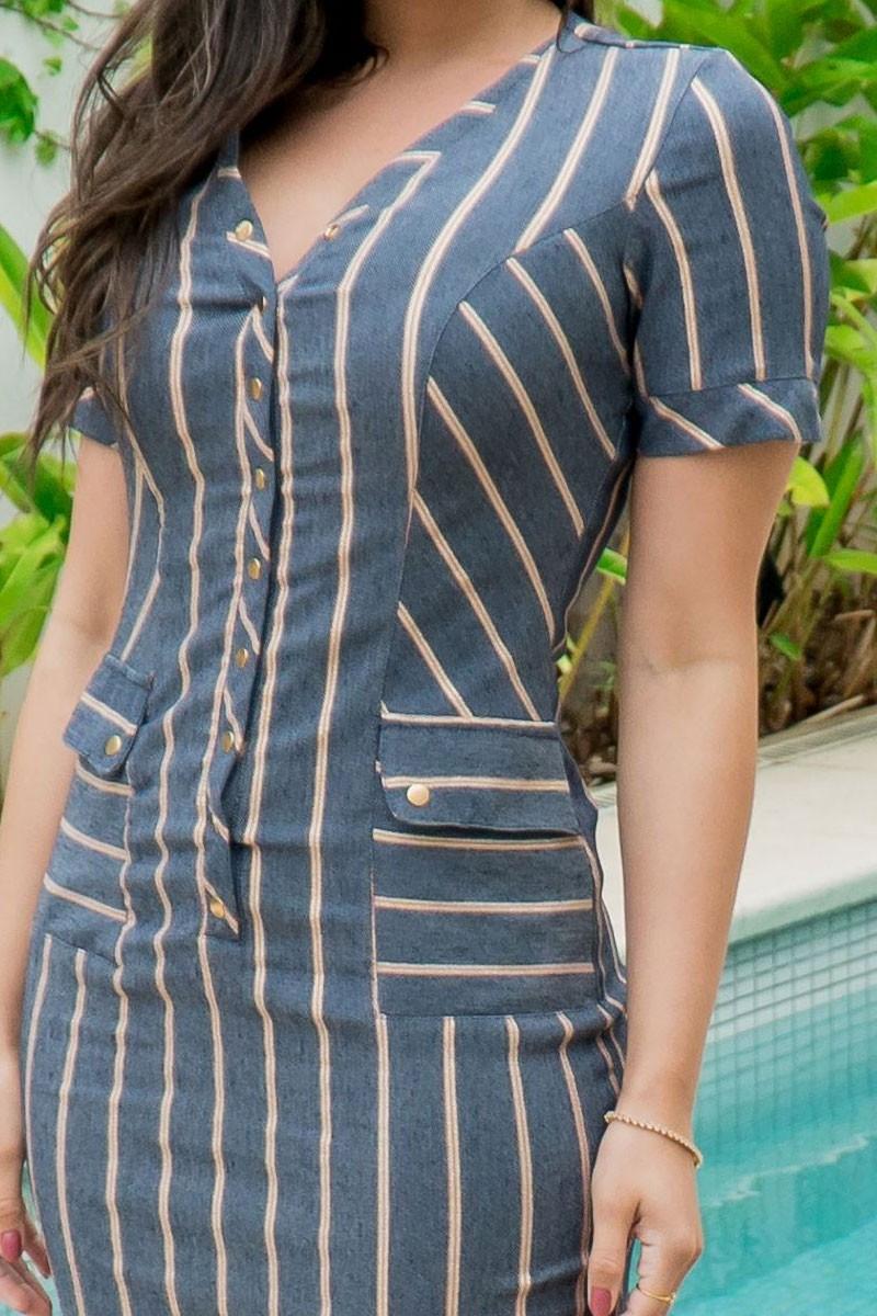Vestido Tubinho Luciana Pais Jeans Bengaline