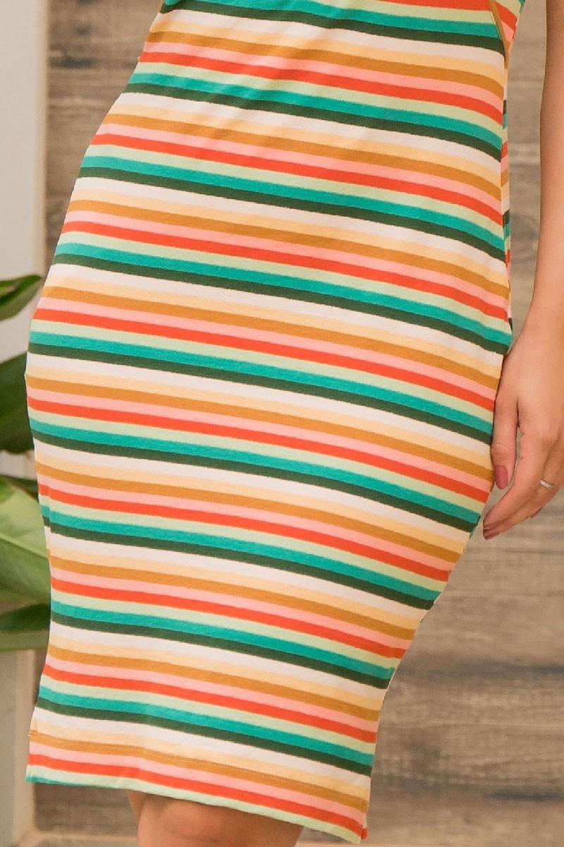 Vestido Tubinho Luciana Pais Listrado com Botões