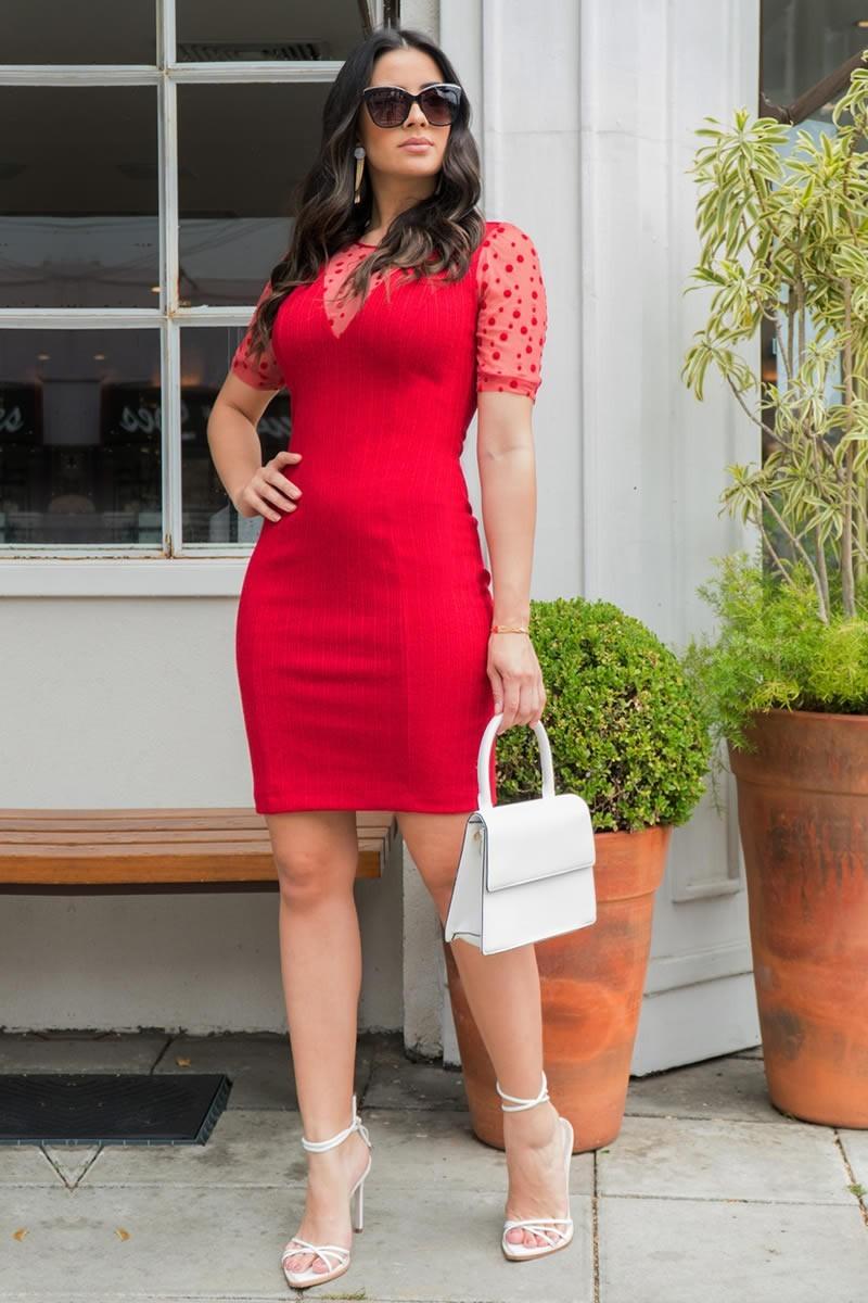 Vestido Tubinho Luciana Pais Manga Tule Vermelho