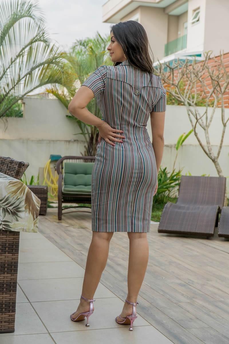 Vestido Tubinho Luciana Pais Multicolor em Sarja