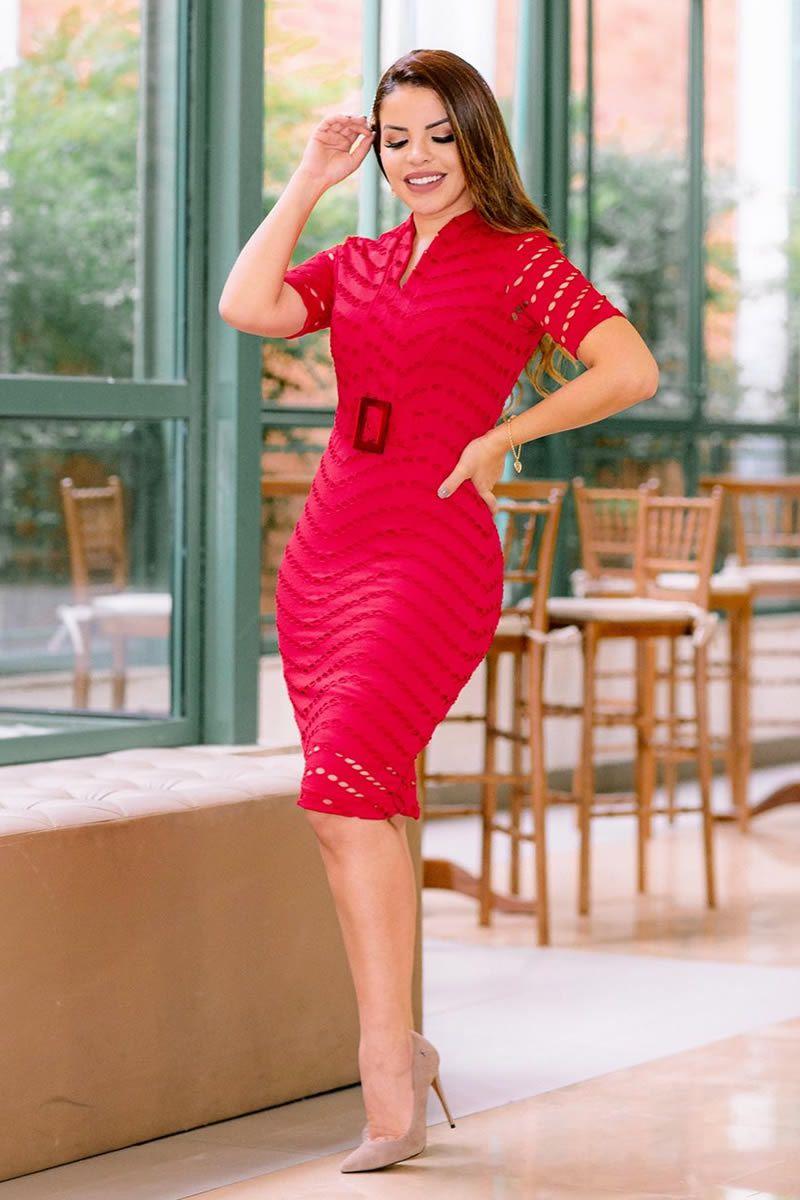 Vestido Tubinho Vermelho e Cinto Luciana Pais