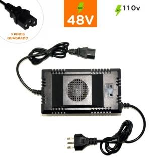Carregador Ch 48V Plug Quadrado 3 Pinos 110v