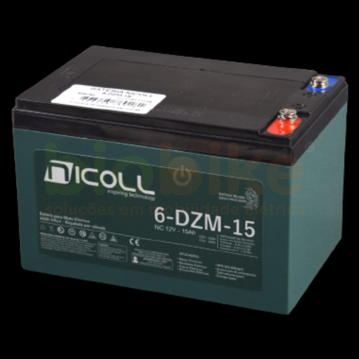Bateria de Chumbo Ácido, Nicoll, VRLA (6-DZM-15), 12v 15ah