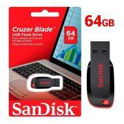 Pen Drive 64GB USB 2.0 Sandisk Cruzer Blade Z50