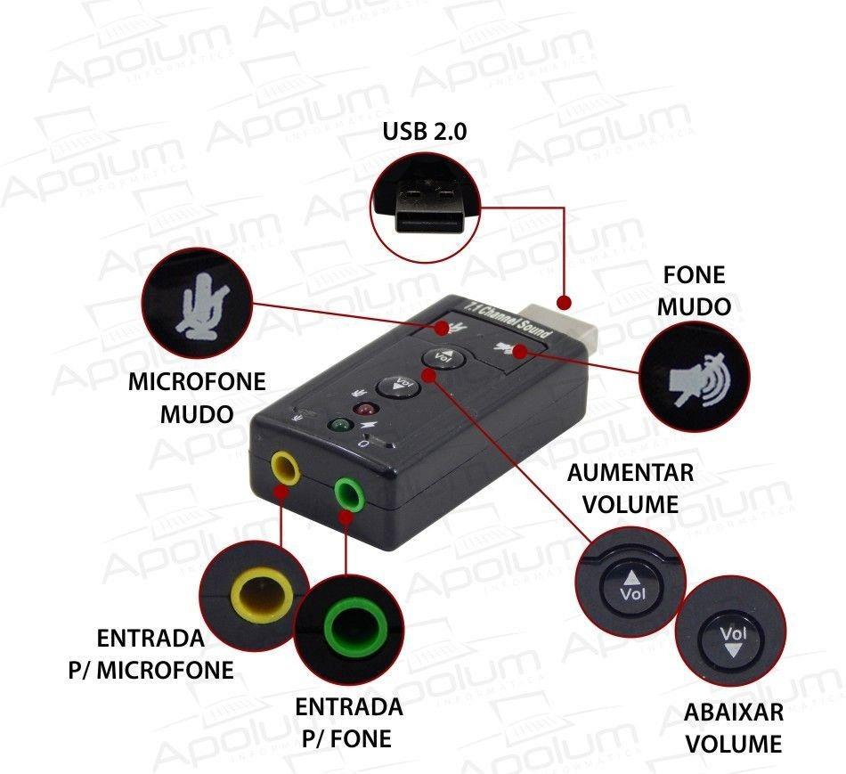 Adaptador Placa De Som Usb 7.1 Canais 3d Audio Notebook Pc