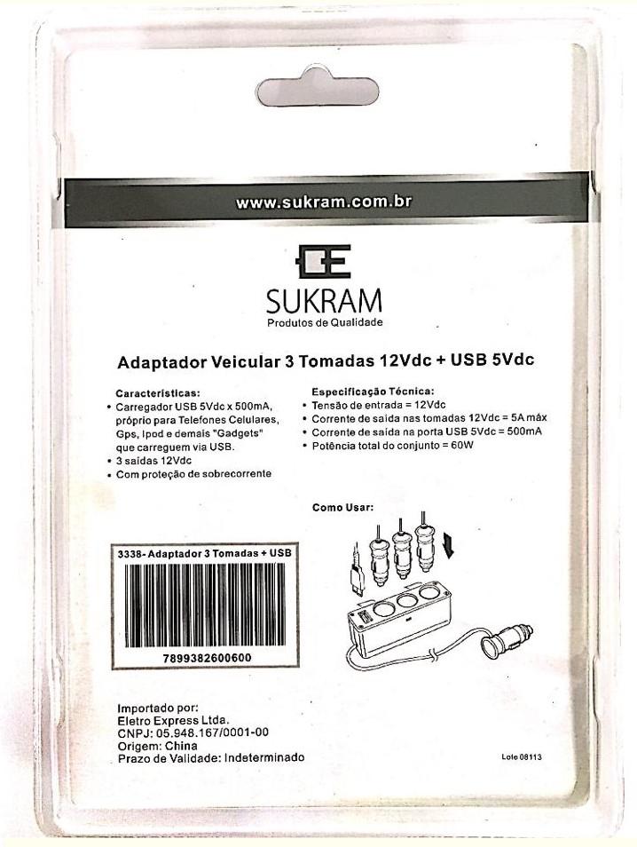 Adaptador Veicular Usb E 3 Tomadas 12v Sk-3338 Sukram