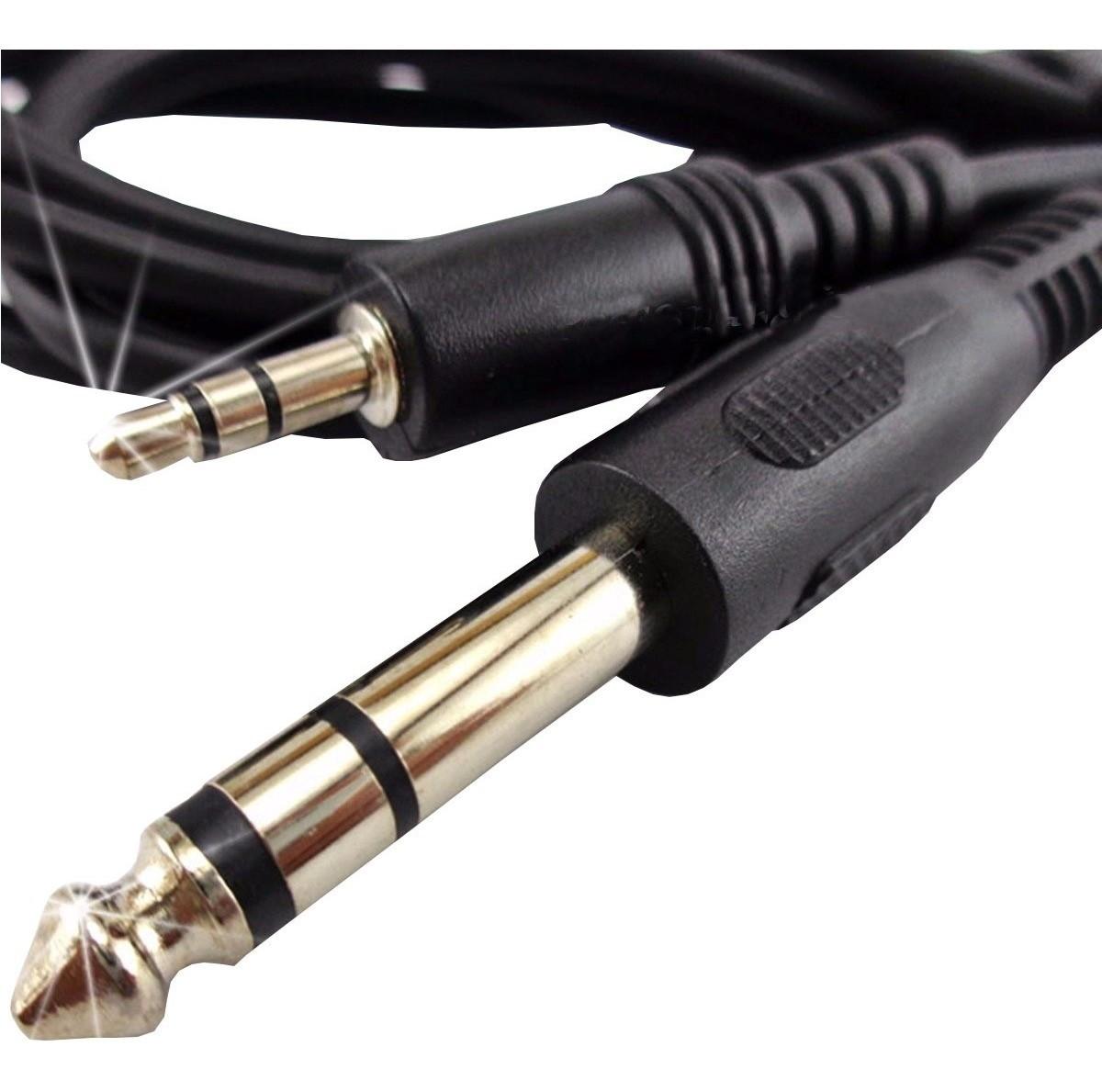 Cabo Adaptador Audio Auxiliar P2 para P10 Stereo 3 Metros