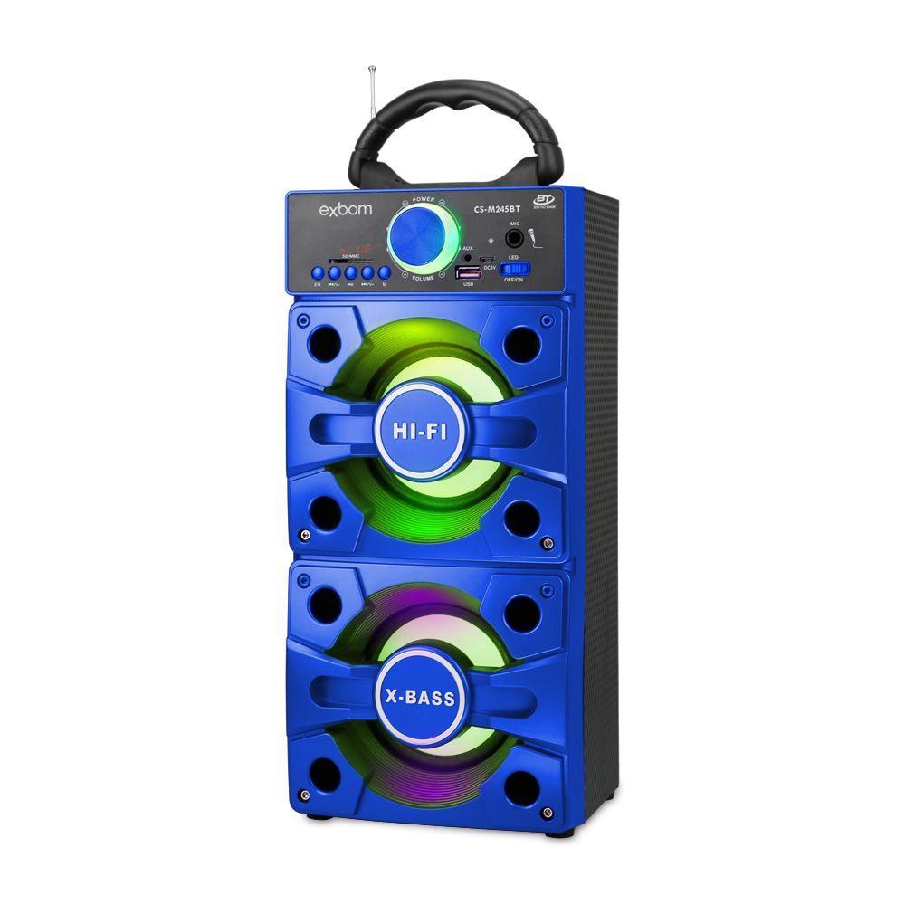 Caixa de Som Bluetooth 12W Super Bass CS-M245BT Exbom Azul