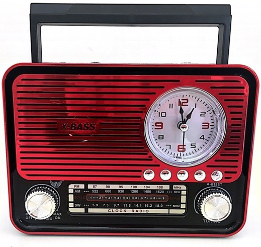 Caixa Rádio Bluetooth Am/fm Sd Usb Aux Relógio Com Lanterna