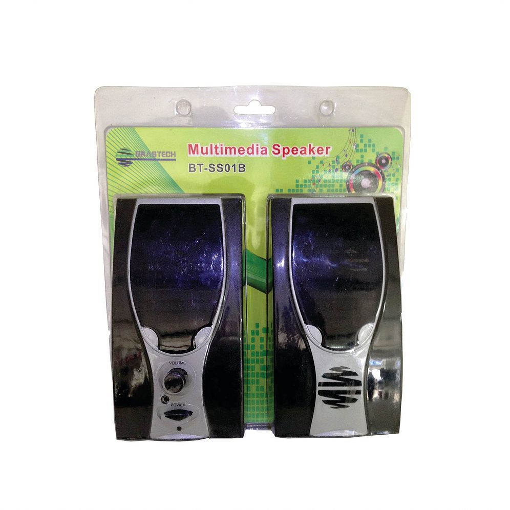 Caixa de Som Para PC USB Brastech BT-SS01B Potência Total 6w