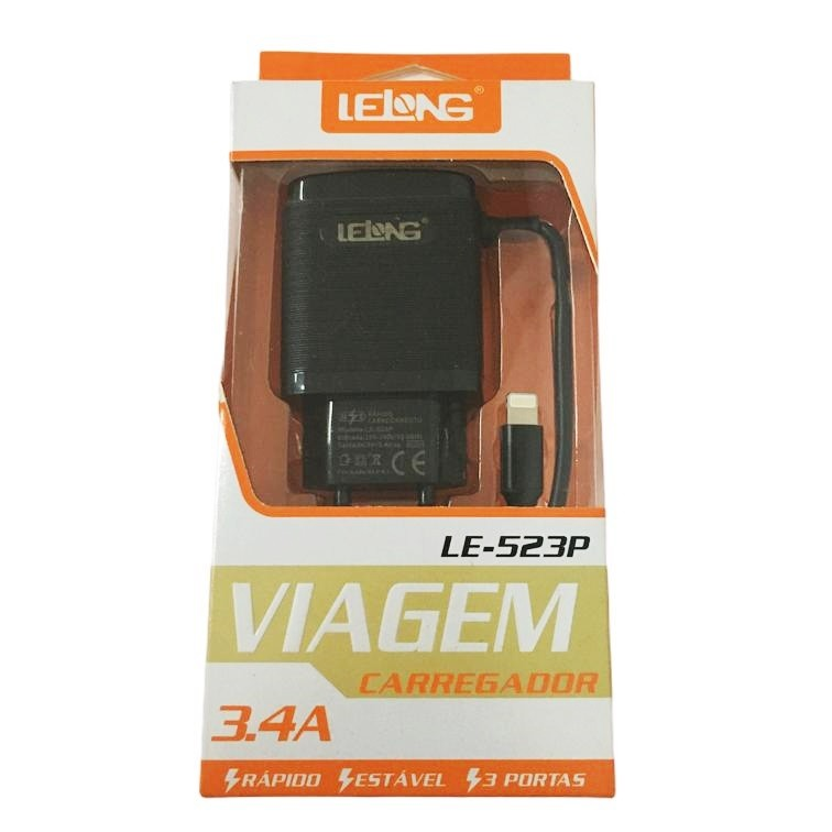 Carregador Turbo Para Iphone Lightning 3.4a Com 3 Usb