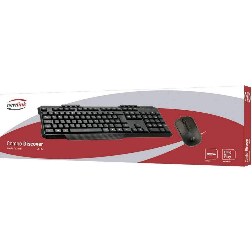 Kit Teclado Mouse Ergonômico Ck105 Discover Com Fio Newlink