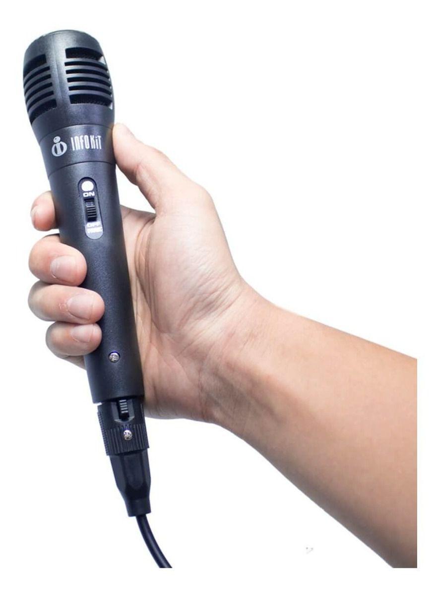 Microfone Com Fio P10 P/ Karaokê Cabo 1,5M Infokit Mic-pf10