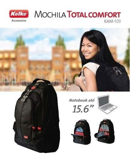 "Mochila Notebook Total Comfort Preta até 15,6"" Kolke KAM-103"