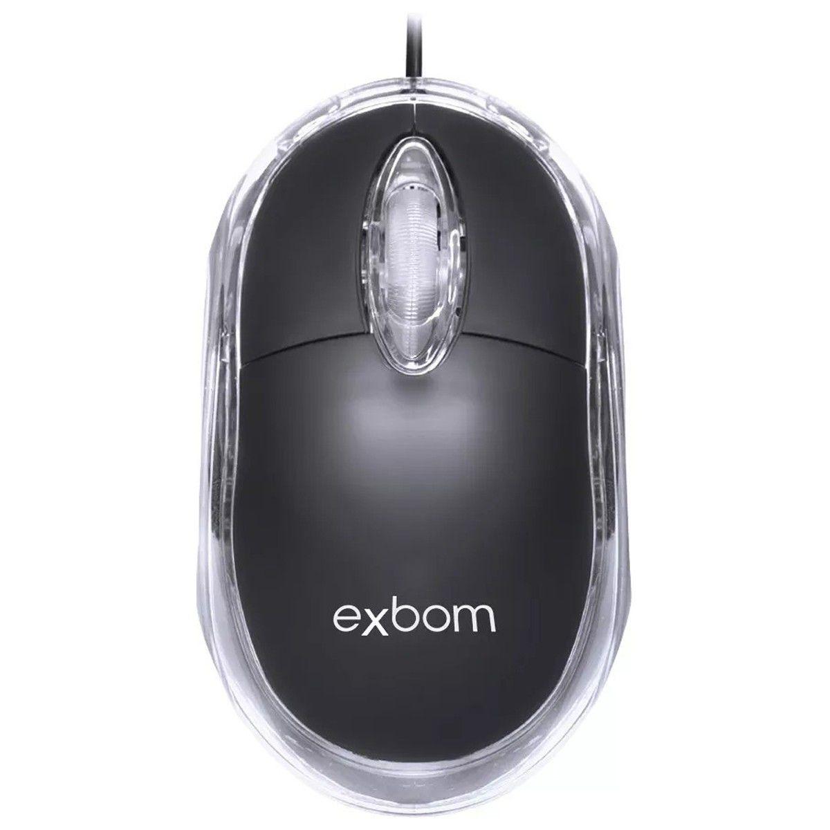 Mouse USB 1000dpi Óptico Led Azul Com Scroll Ms-10 Preto