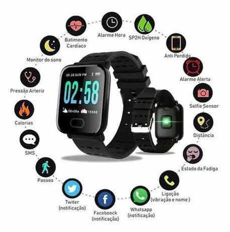 Relógio Smartwatch Bluetooth Android Ios Todas as Funções