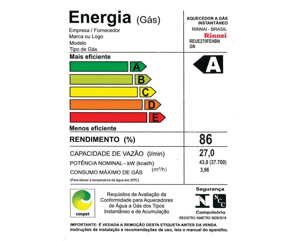 Aquecedor a Gás E27 Rinnai - 27 litros