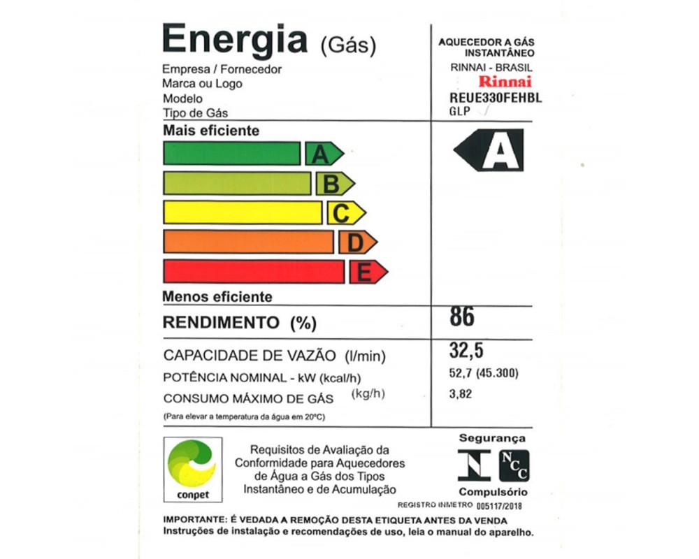 Aquecedor de Água a Gás E33 Rinnai Digital GLP (32,5 litros)