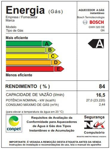 Aquecedor a Gás GWH 320DE Bosch - 16 litros