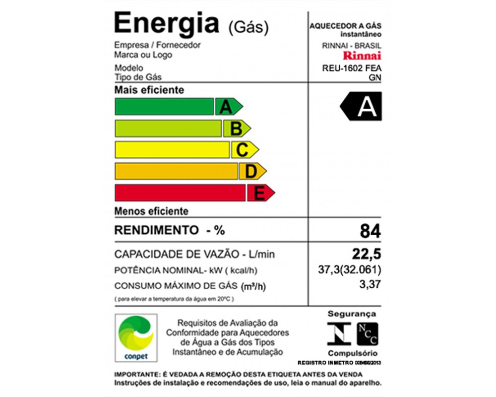 Aquecedor a Gás REU-1602 FEA Rinnai - 22,5 litros