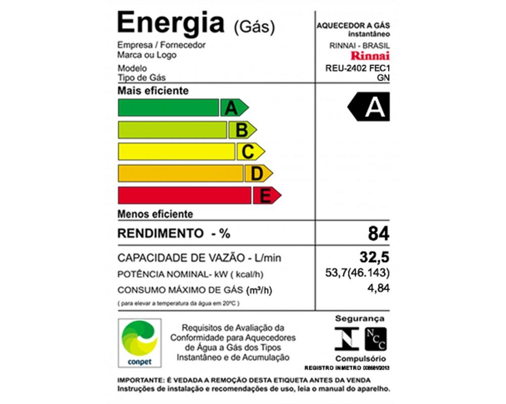 Aquecedor a Gás REU-2402 FEC Rinnai - 33,5 litros