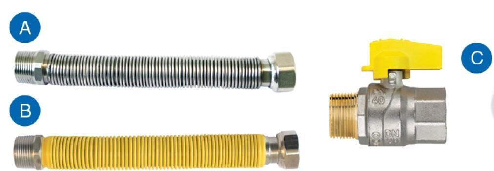 """Kit flexivel para instalação de aquecedor 30cm 1/2"""" - Emmeti"""