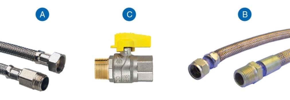 """Kit flexivel para instalação de aquecedor 40cm 1/2"""" - Emmeti"""