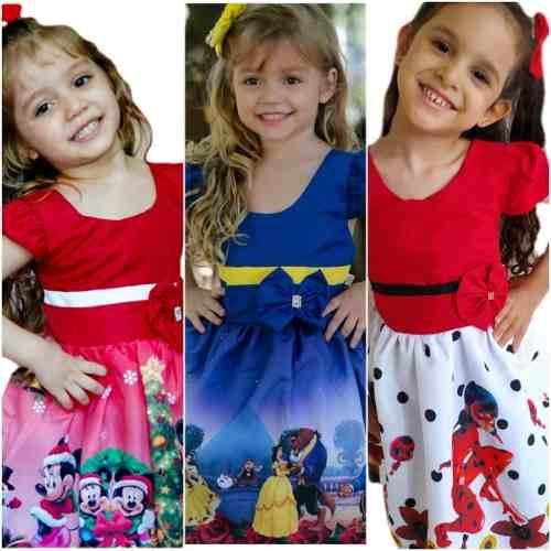 Kit 3 Vestido Infantil Temático