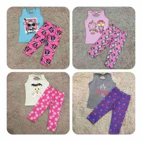 Kit Lote 5 Conjunto Infantil Feminino Legging