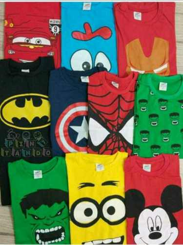 Kit 100 Camisas Infantil De Personagens E Super Heróis Kids