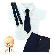 Roupa Do Poderoso Chefinho Infantil Com Suspensório E Gravata