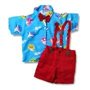 Roupa Do Baby Shark Infantil Menino Conjunto Do Babyshark