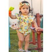 Roupa De Bebê Body Com Tiara Infantil Jardineira Macaquinho