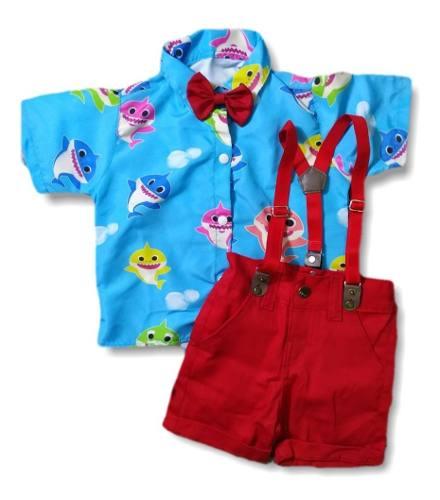 Roupa Do Baby Shark Infantil Menino Conjunto Do Babyshark