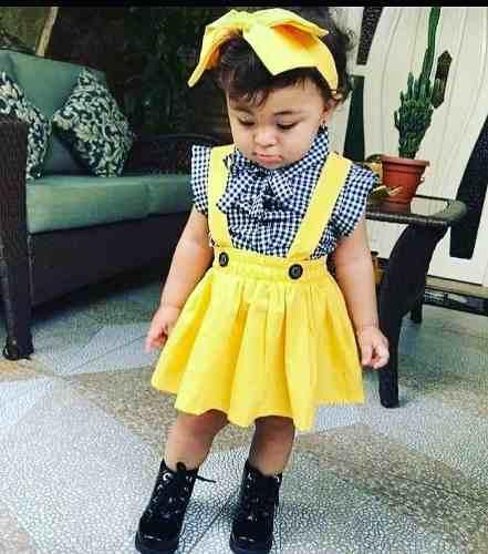 Roupa De Menina Jardineira Com Suspensório Infanti