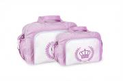 Conjunto Bolsa e Frasqueira Coroa - Rosa