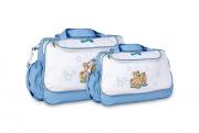 Conjunto Bolsa e Frasqueira Urso - Azul Bebe
