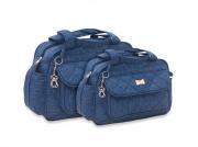 Conjunto de Bolsa e Frasqueira Chess - Azul Jeans