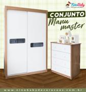Conjunto Manu Master - Branco com Carvalho Peroba Móveis