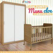 Conjunto Guarda Roupa Manu Porta Lisa com Berço Cloe - Carvalho Peroba Móveis