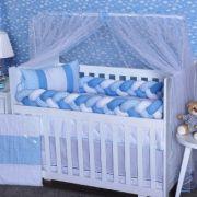 Kit Berço Trança Chevron Azul Bebê